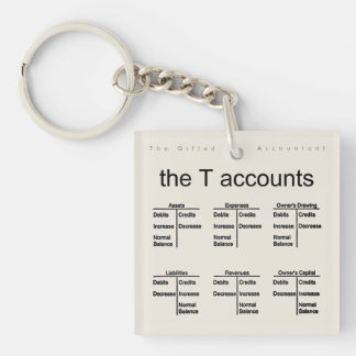 """The T Accounts"" Double-Sided Square Acrylic Key Ring"