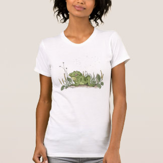 The T-shirt with funny green frog picture