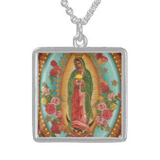The Taco Saint Necklace-Silver Square Pendant Necklace