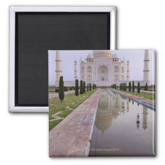 The Taj Mahal perfectly reflected in the still Square Magnet