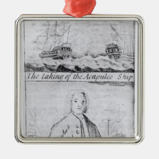 The Taking of the Acapulco Ship, 20th June 1743 Silver-Colored Square Decoration