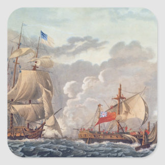 The Taking of the English Vessel 'The Java' Square Stickers