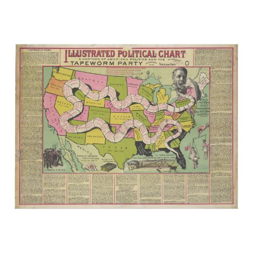 The Tapeworm Party American Political Chart (1888) Stretched Canvas Prints