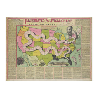The Tapeworm Party American Political Chart (1888) Canvas Print