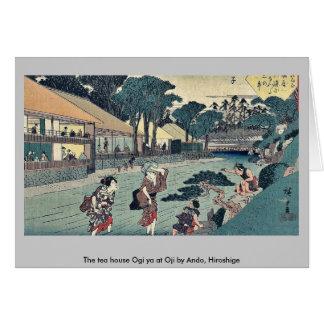 The tea house Ogi ya at Oji by Ando, Hiroshige Greeting Cards
