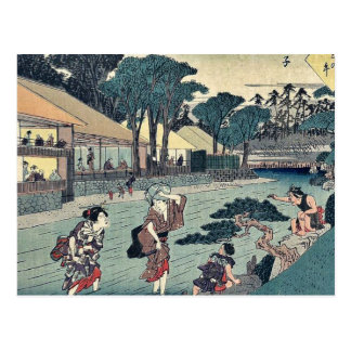 The tea house Ogi ya at Oji by Ando, Hiroshige Postcard