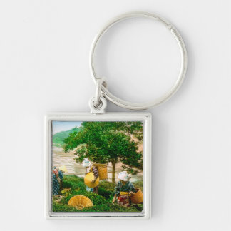 The Tea Pickers of Old Japan Vintage Hand Colored Silver-Colored Square Key Ring
