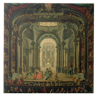 The Teatro Reale in Turin (oil on canvas) Large Square Tile