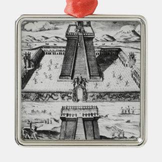 The Templo Mayor at Tenochtitlan Silver-Colored Square Decoration