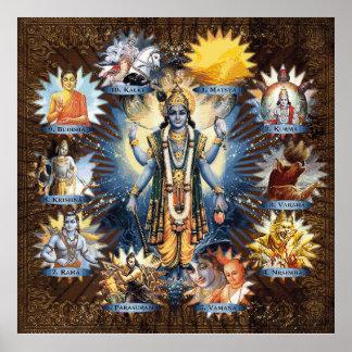 The Ten Avatars Of Vishnu - Custom Framed Print