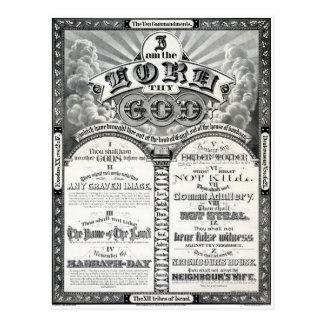 The Ten Commandments 1876 Vintage Poster Restored Postcard