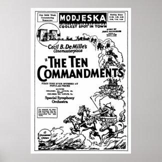 The Ten Commandments 1925 vintage movie ad poster