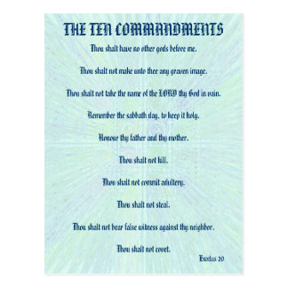 The Ten Commandments Aqua Splash Postcard