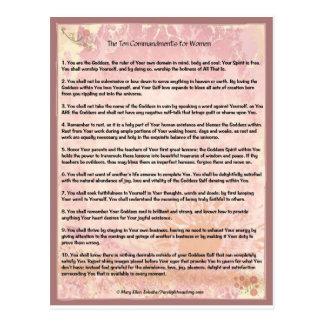 The Ten Commandments for Women Postcard