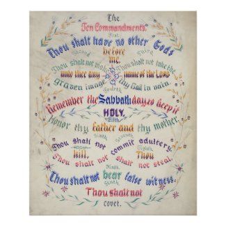 Christian Poster: The Ten Commandments (intricate)