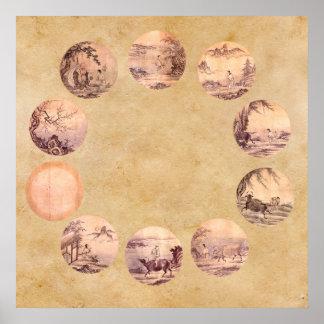 The Ten Oxherding Zen Poster