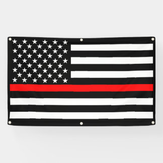 The Thin Red Line American Flag Decor Display on a Banner