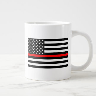 The Thin Red Line Black and White US flag on a Large Coffee Mug