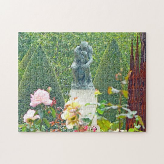 The Thinker by Rodin in a Paris Sculpture Garden Jigsaw Puzzle