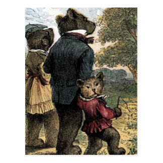 The Three Bears Take a Walk Vintage Illustration Postcard