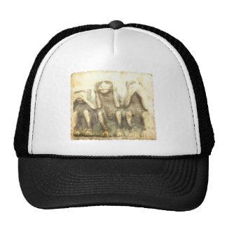 The three classic monkeys hats