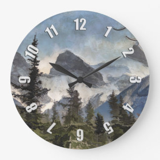 The Three Sisters - Canadian Rocky Mountains Large Clock