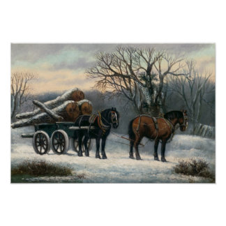 The Timber Wagon in Winter Poster