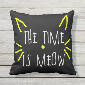 THE TIME IS MEOW PILLOW