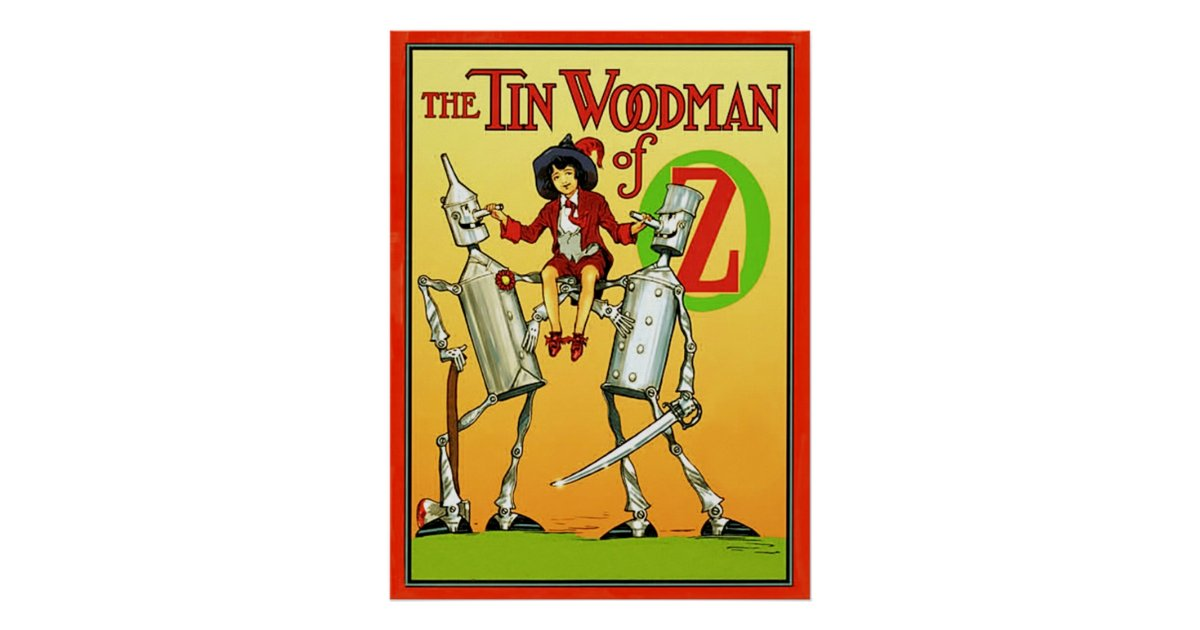 Old Book Cover Posters ~ The tin woodman of oz vintage book cover poster zazzle