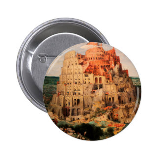 The Tower of Babel by Pieter Bruegel the Elder 6 Cm Round Badge