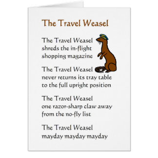 The Travel Weasel - a funny bon voyage poem Card