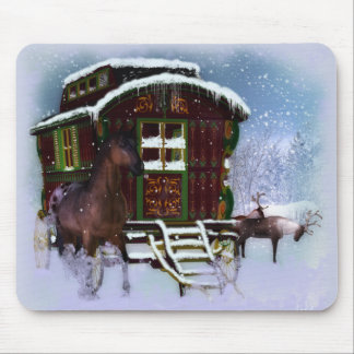 The Travellery - Winter Scenery - Horse Reindeer Mouse Pad