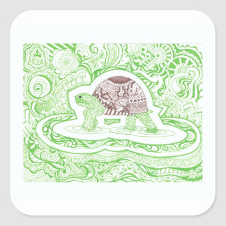 The Travelling Tortoise Square Sticker