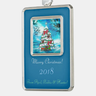 The Tree Christmas Folk Art PERSONALIZED Silver Plated Framed Ornament