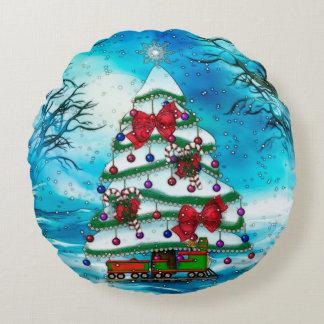 The Tree Christmas Folk Art Round Pillow