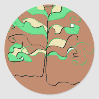 The Tree in Green and Brown Round Sticker