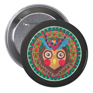 The Tribal Great Horned Owl 7.5 Cm Round Badge