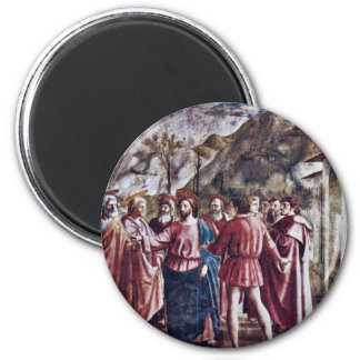 The Tribute Money By Masaccio (Best Quality) 6 Cm Round Magnet