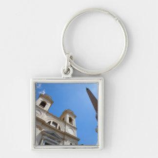 The Trinita dei Monti church in Rome, Italy is Silver-Colored Square Key Ring