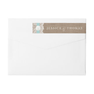 The Turquoise Sand Dollar Beach Wedding Collection Wraparound Return Address Label