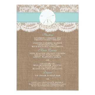 The Turquoise Sand Dollar Wedding Collection Menu 11 Cm X 16 Cm Invitation Card
