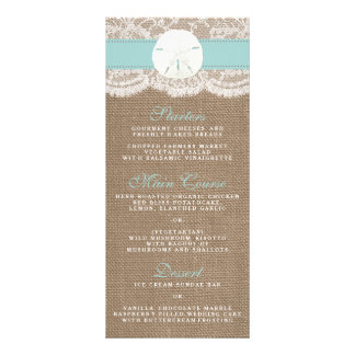 The Turquoise Sand Dollar Wedding Collection Menu Rack Cards