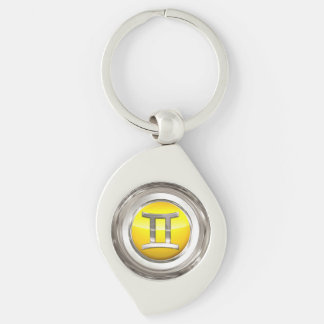 The Twins Zodiac Sign Silver-Colored Swirl Key Ring