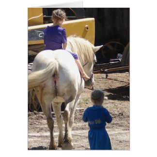 The  Two Amish Girls and Their Horse Greeting Card