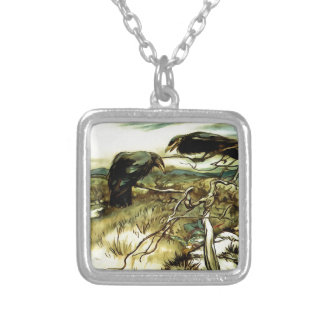 The Two Crows Silver Plated Necklace