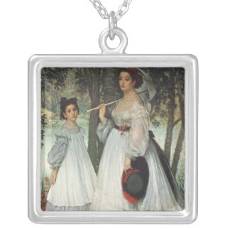 The Two Sisters: Portrait, 1863 Silver Plated Necklace