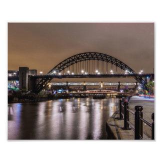 The Tyne Bridges at Night Photo Print
