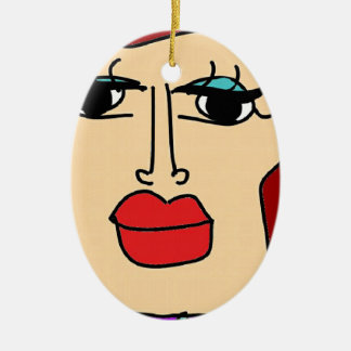 the ugly women ceramic ornament