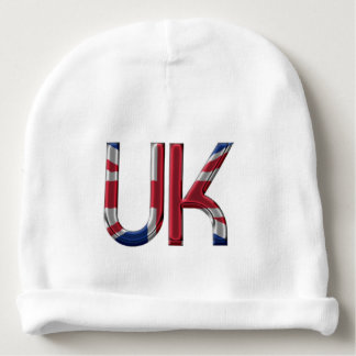 The UK Union Jack British Flag Typography Elegant Baby Beanie