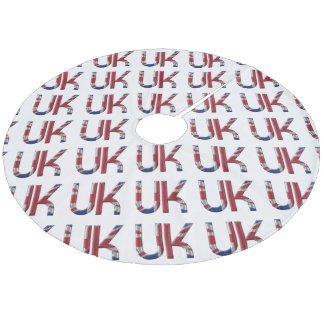 The UK Union Jack British Flag Typography Elegant Fleece Tree Skirt